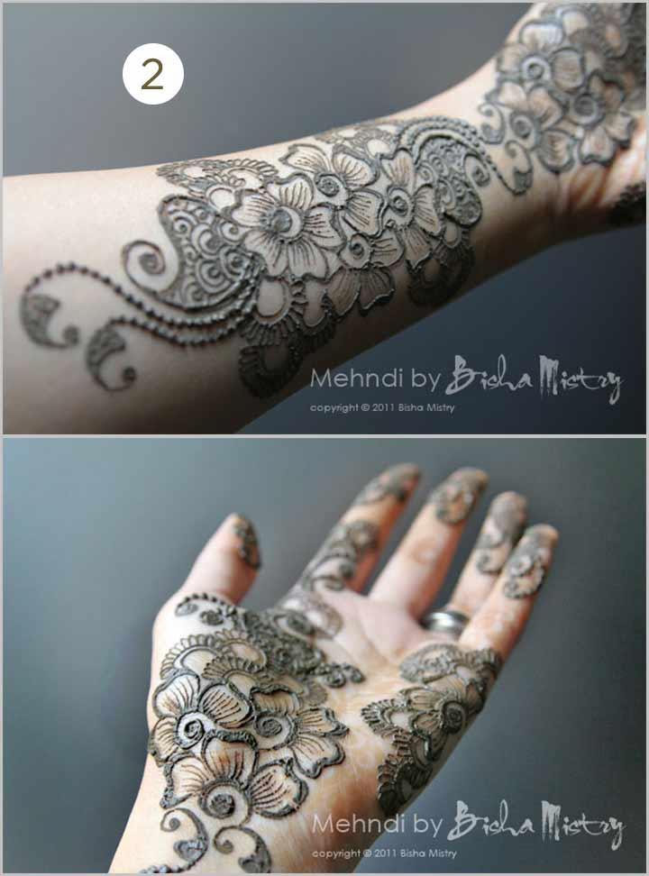 Floral Bisha Mistry Mehndi Designs