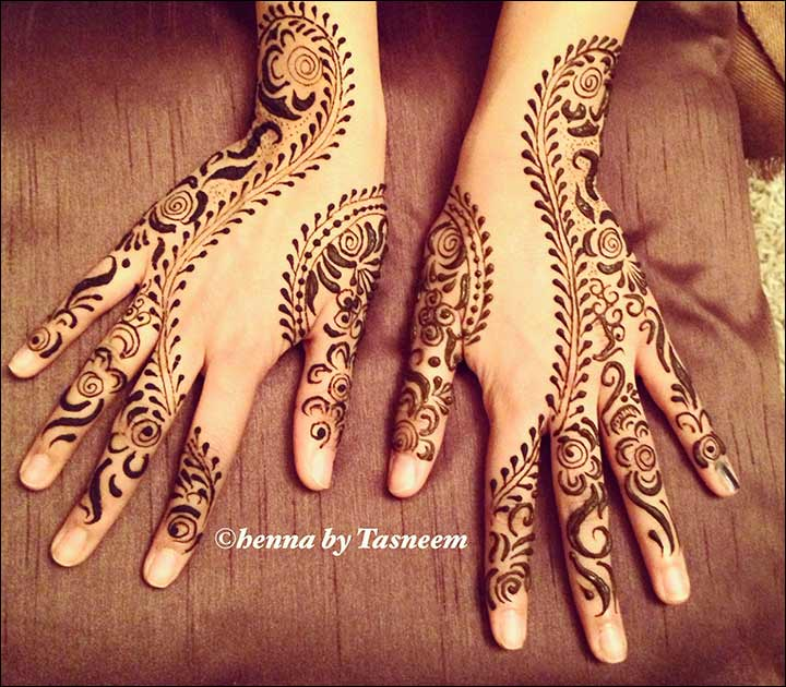 Black Mehndi Design - Back Hand Black Design
