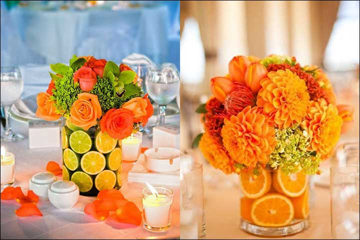 Citrus Flower Decor - Orange Wedding Decorations