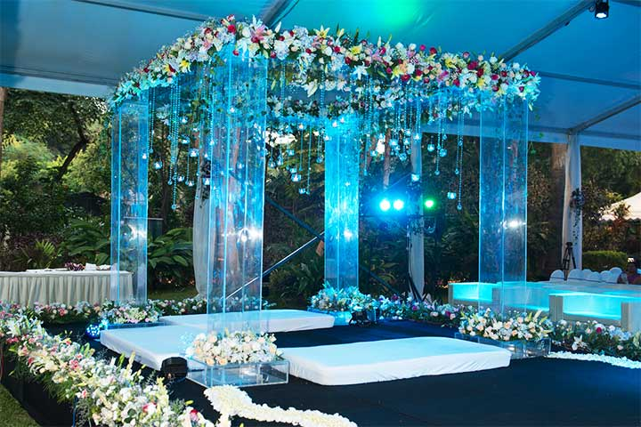 Blue Wedding Flower Decorators In Bangalore
