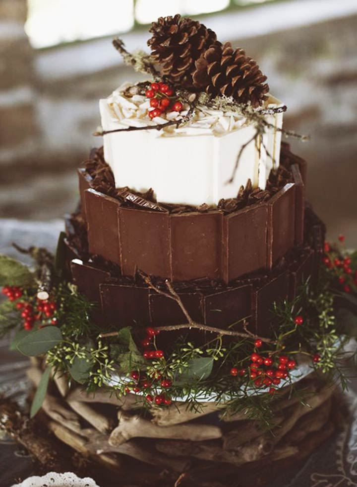 Forest Themed Winter Wedding Cake