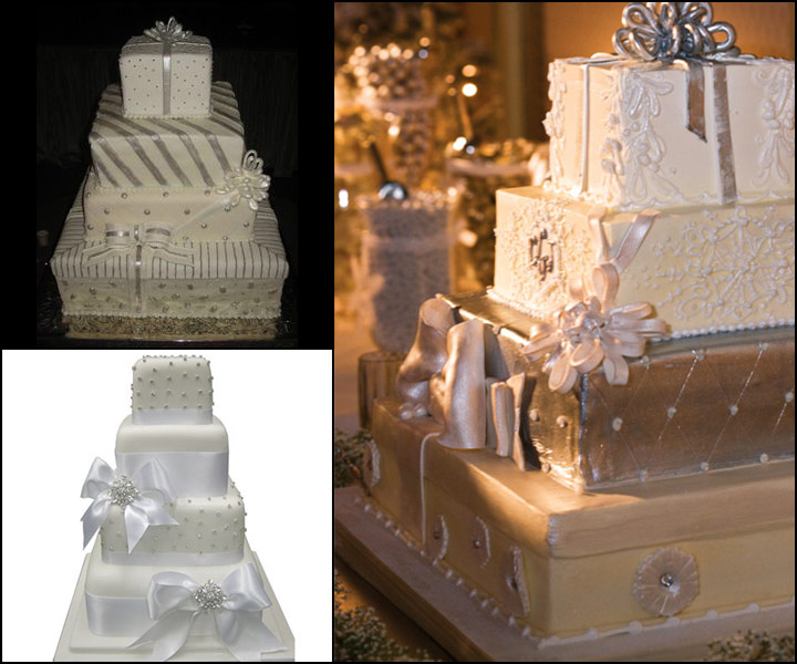Gift Wrapped Winter Wedding Cakes