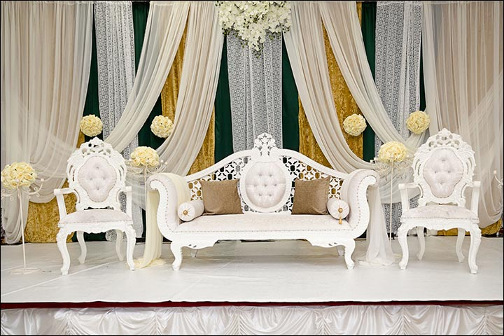 indian wedding stage decoration - Regal In White