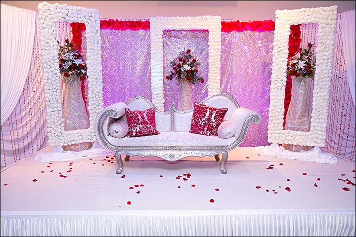Indian wedding stage decoration ideas 9 ideas thatll inspire resplendent white rose indian wedding stage decoration junglespirit