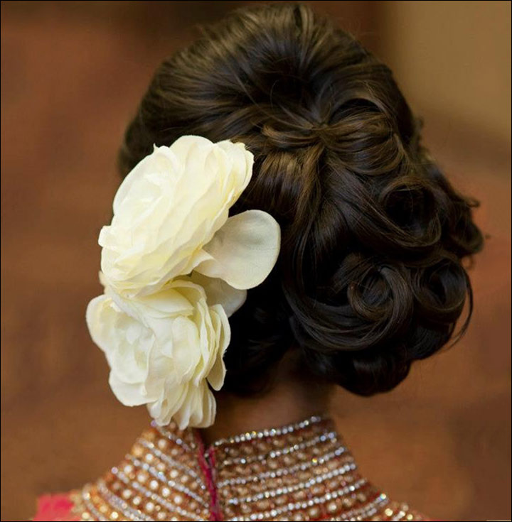 maharashtrian bridal hairstyles - The Messy Curly Side Bun