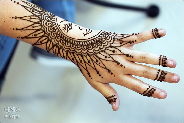 Latest Mehndi Designs 2016 - Present Day Take On The Sun And The Moon