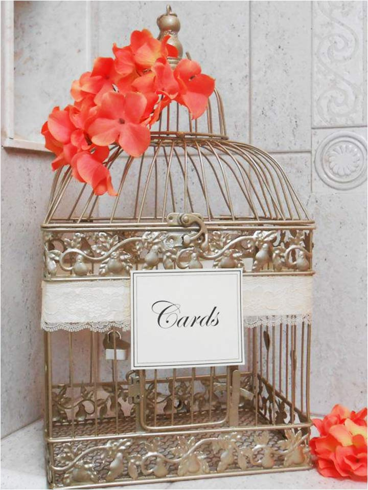 Coral Wedding Decorations - Birdcage Card Holder Paired With Coral Flowers