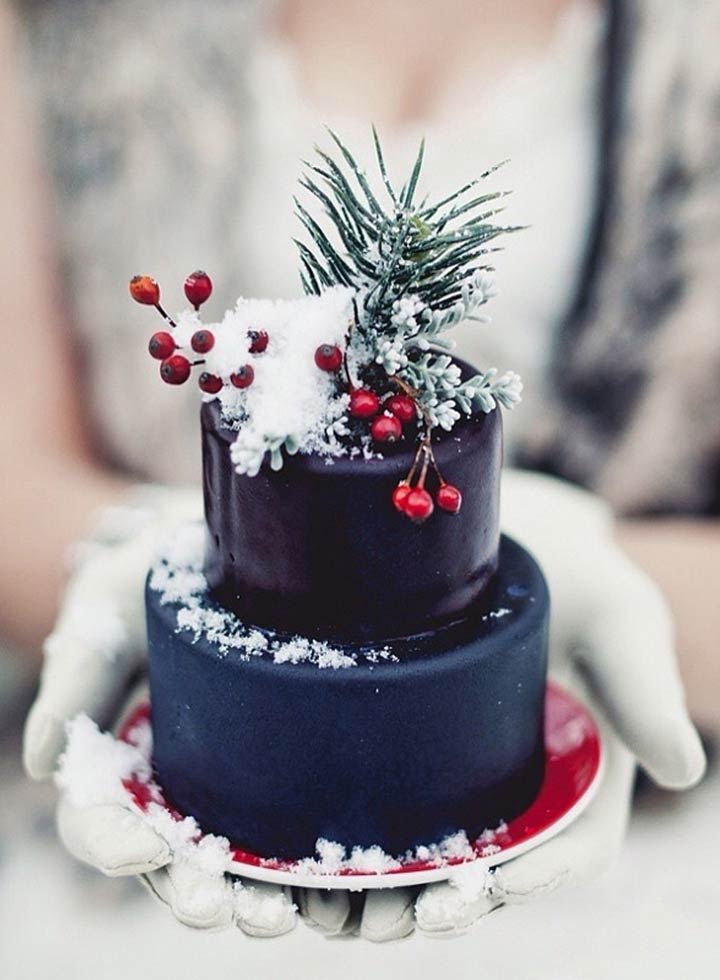 Chocolate And Snow Wedding Cake