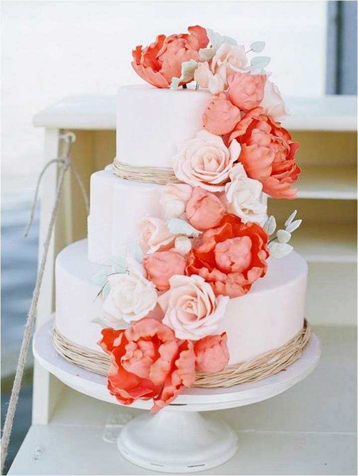 10 cheerful coral wedding decorations that are perfect for your wedding coral wedding decorations coral wedding cake junglespirit Images
