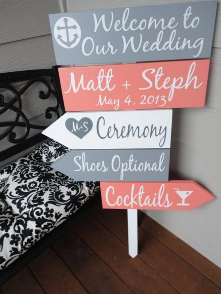 Coral Wedding Decorations - Coral Wedding Sign