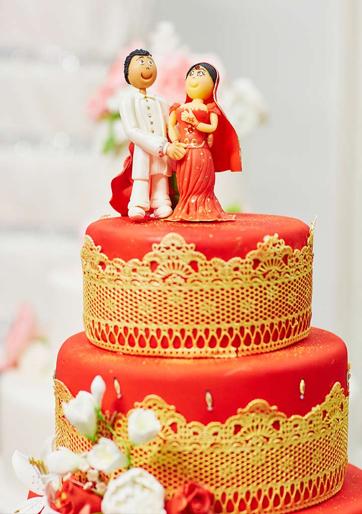 Wedding Cake White And Gold Indian
