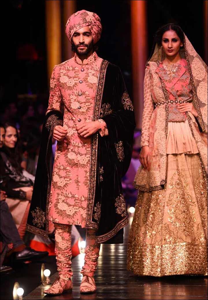 Punjabi Groom Wear - Floral Sherwani