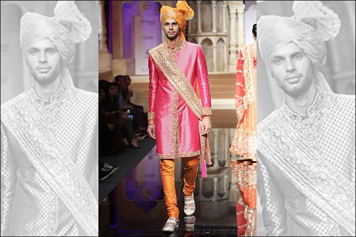 Punjabi Groom Wear - Pink and Orange Combo Sherwani