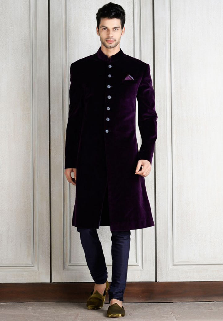 Punjabi Groom Wear- Purple Colored Velvet Sherwani