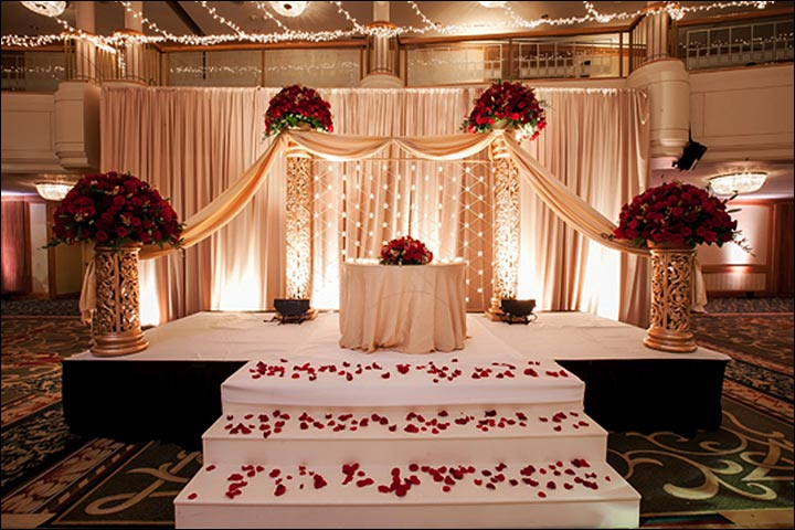 Indian wedding stage decoration ideas 9 ideas thatll inspire indian wedding stage decoration red and pink junglespirit Image collections
