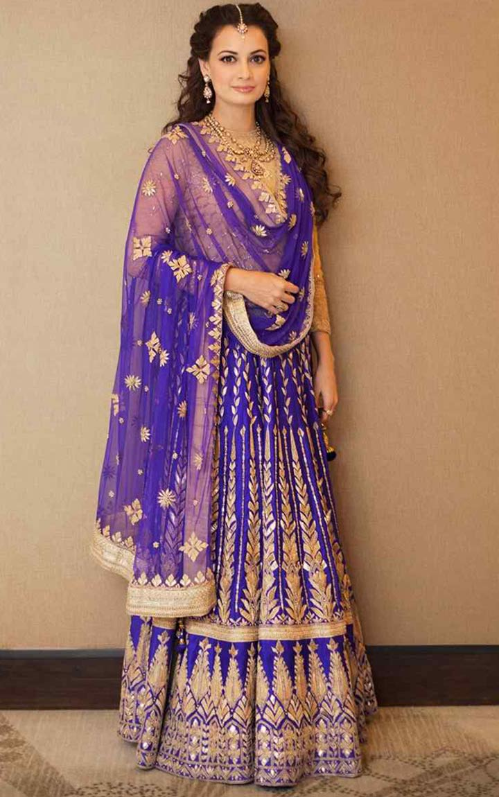 Blue-Bridal-Lehenga-With-Gold-Thread-Work