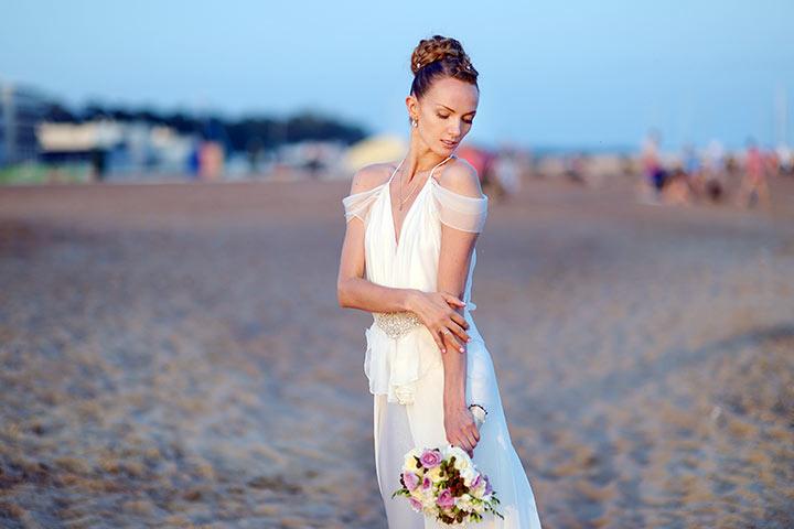 Plunging V Neck Summer Wedding Dress
