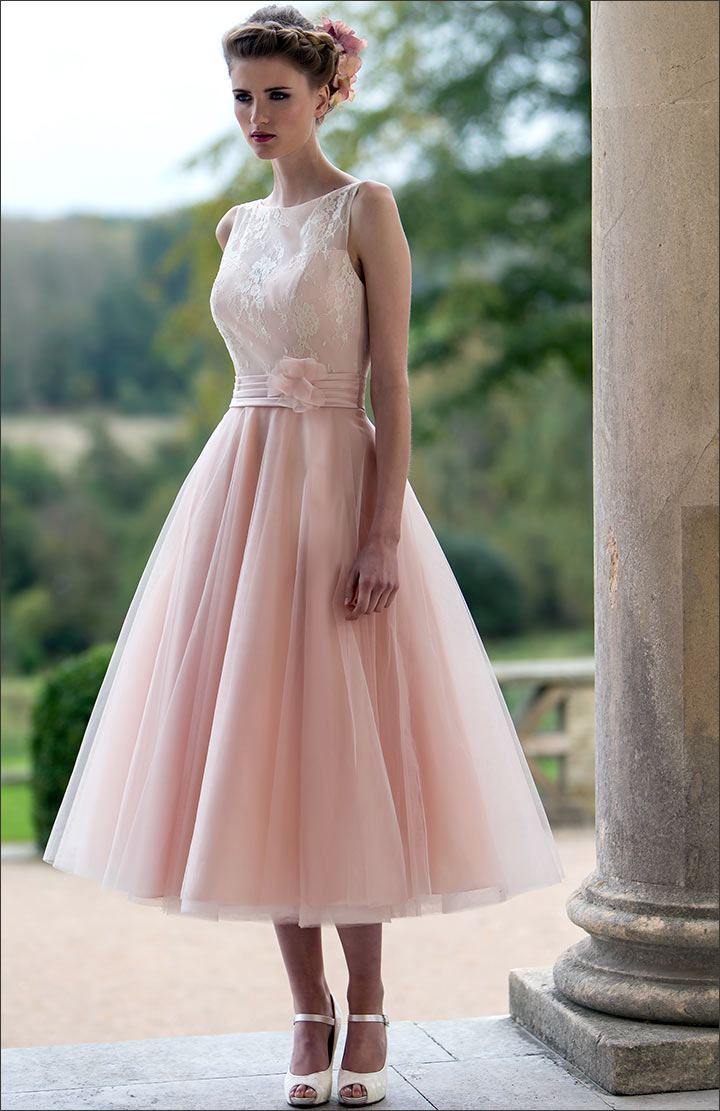 These 10 gowns are proof the pink wedding dress packs sass and how tea length pink wedding dress junglespirit Images