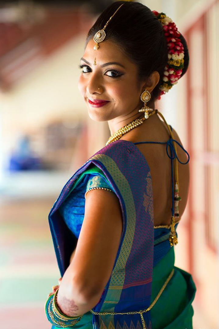 South Indian Bridal MakeUp For A Beautiful Peacock Bride