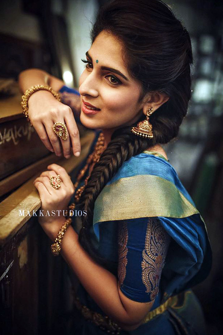 South Indian Bridal Makeup With Blue Kanchipuram Silk Saree