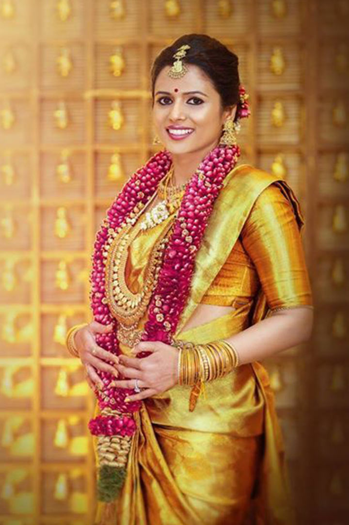 South Indian Bridal MakeUp For The Golden Bride