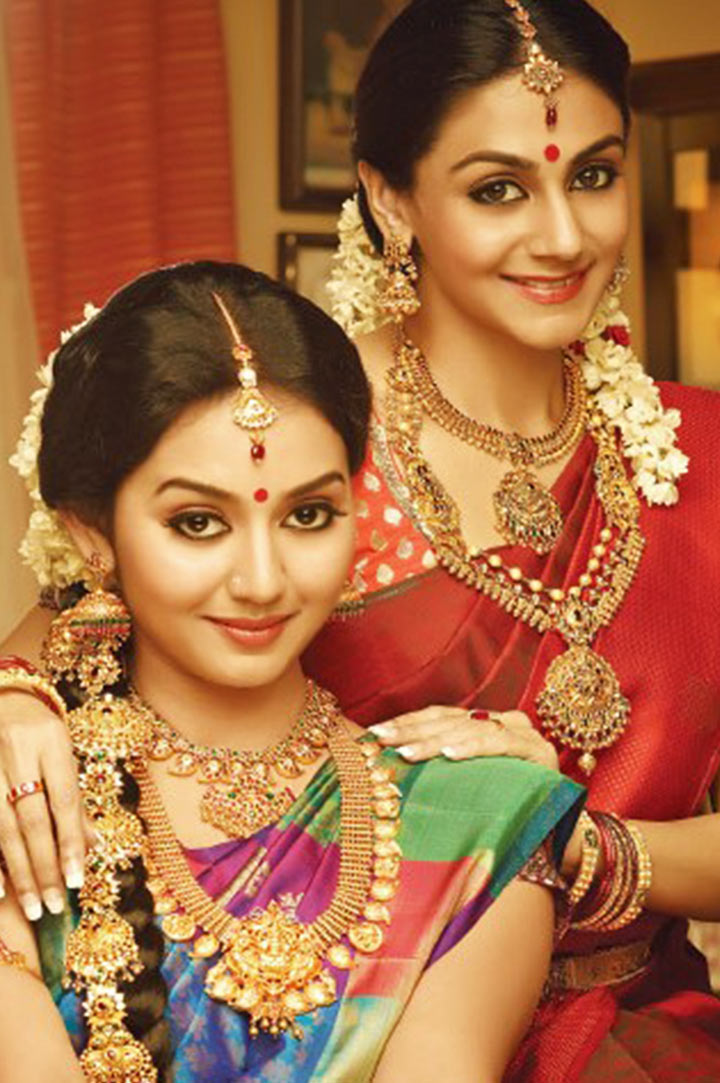 South Indian Bridal MakeUp With Beautiful Temple Jewellery