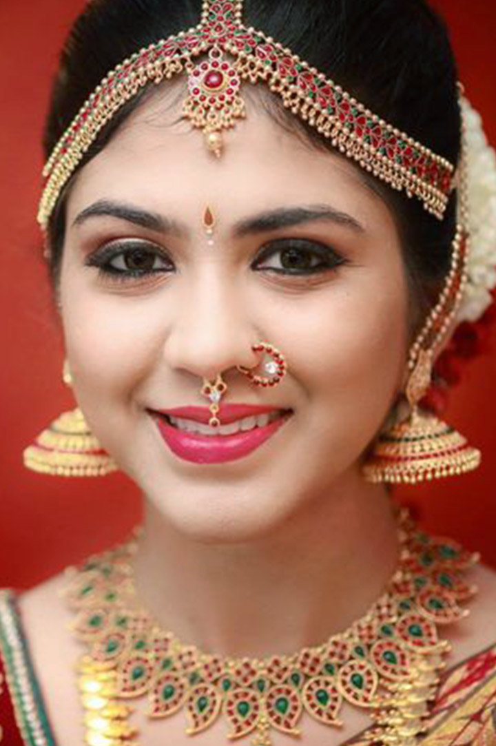 South Indian Bridal Makeup With Traditional Jewellery
