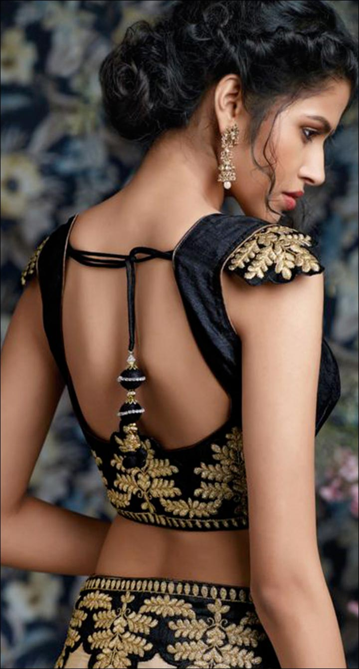 Blouse Back Neck Designs - Black And Gold Open Back Blouse Back Neck Design