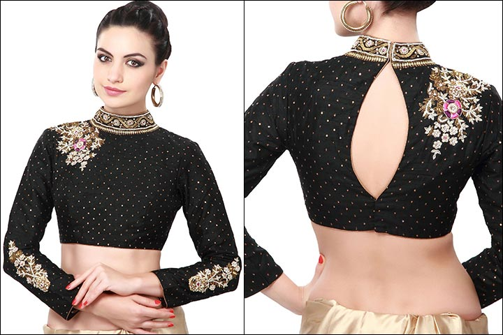 Blouse Back Neck Designs - Designer Black Blouse Back Neck Design