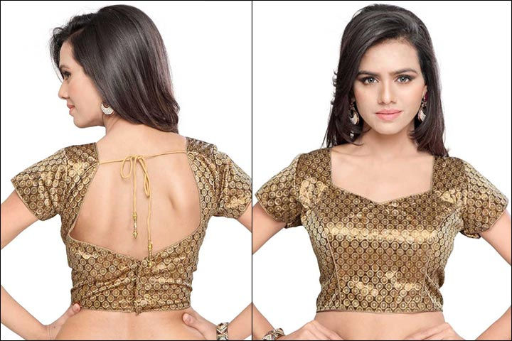 Blouse Back Neck Designs - Brown Sheen Ethnic Blouse Back Neck Design