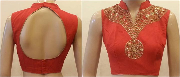 Blouse Back Neck Designs - Chanderi Red Silk Blouse Back Neck Design