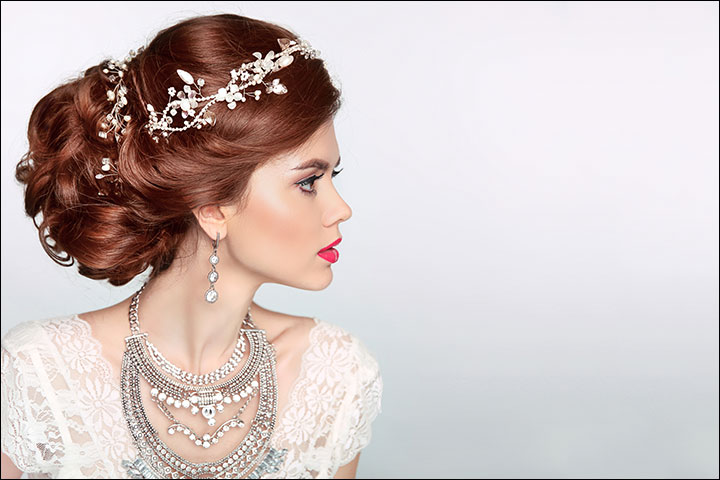 Curly-Bun-With-Tiara-bridal-hair-style
