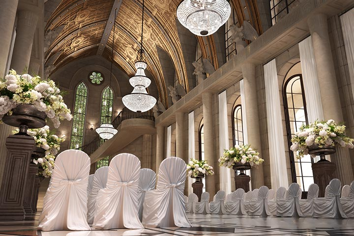 Elegant Chairs And Gorgeous Flowers decoration for church wed
