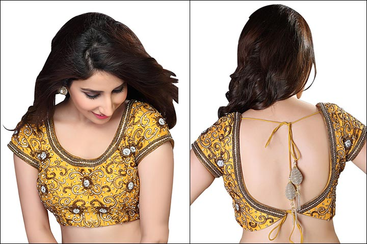 Blouse Back Neck Designs - Embroidered Mustard Yellow Blouse Back Neck Design