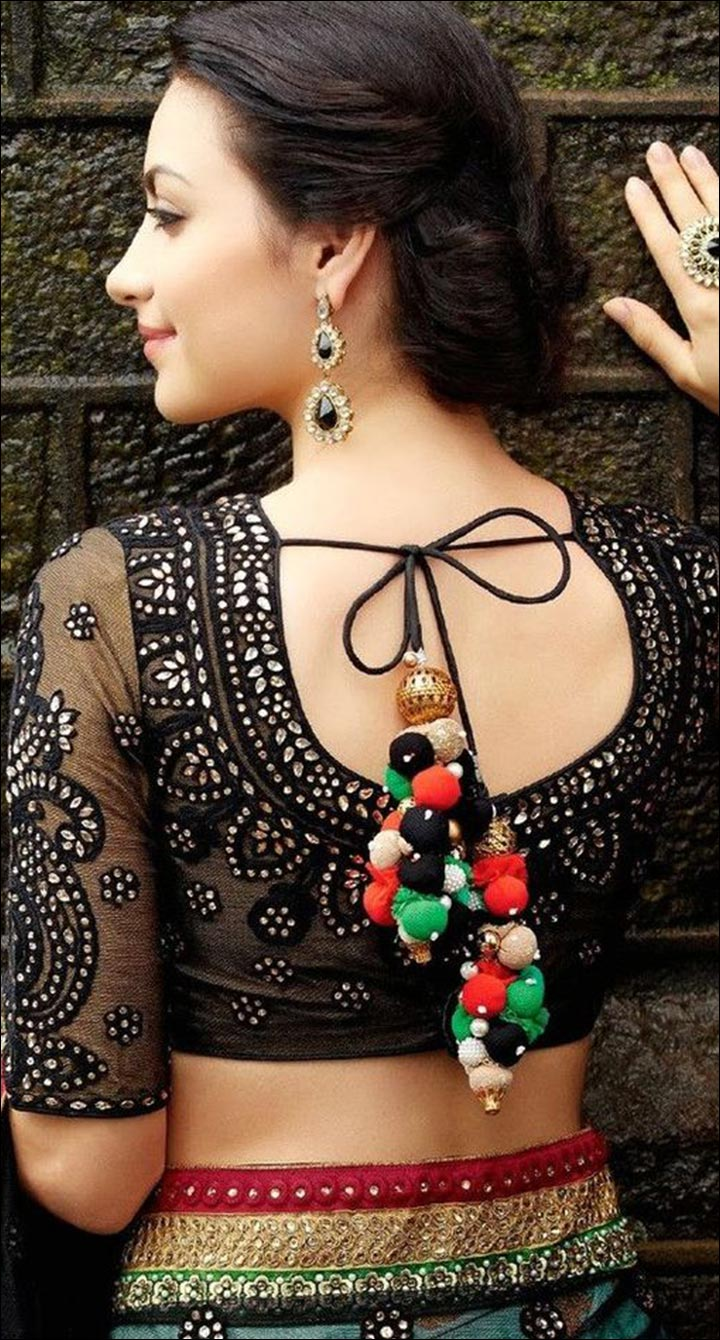 Blouse Back Neck Designs - Exquisite Sheer Black Blouse Back Neck Design