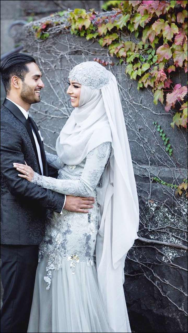 Muslim Bridal Dresses The Grey Gown And Lace Hijab