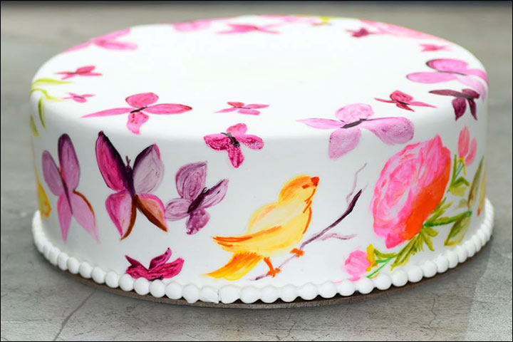 Simple Wedding Cakes - A Hand Painted Birds and Butterflies Cake