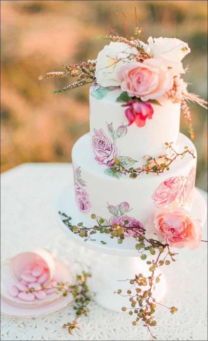 Simple Wedding Cakes - The Beautiful Spring Floral Hand Painted Cake