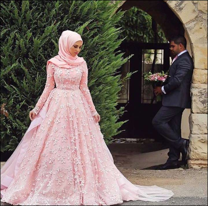 Muslim Wedding Dresses For Bride In : Muslim bridal dresses hot pink ballgown dress