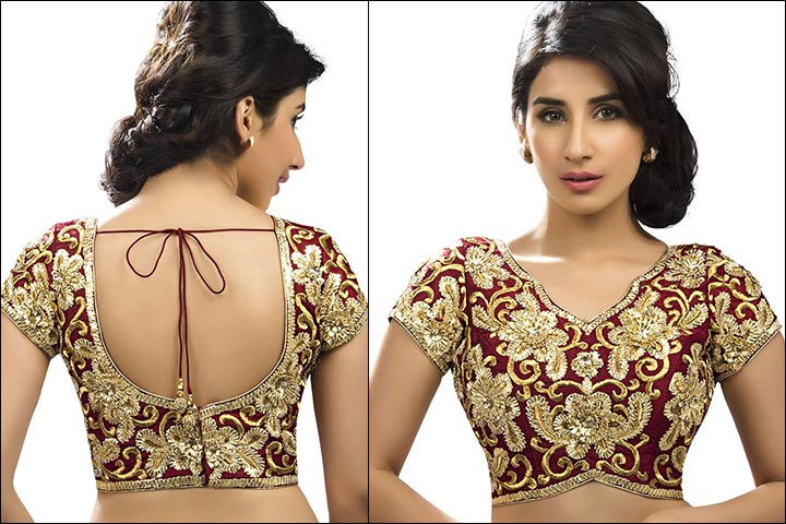 Blouse Back Neck Designs - Embroidered Maroon And Gold Blouse Back Neck Design