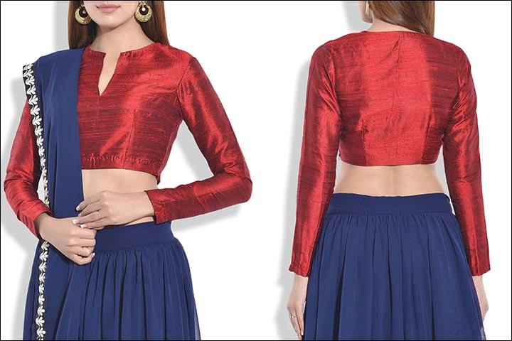 Blouse Back Neck Designs - Maroon Raw Silk Blouse Back Neck Design