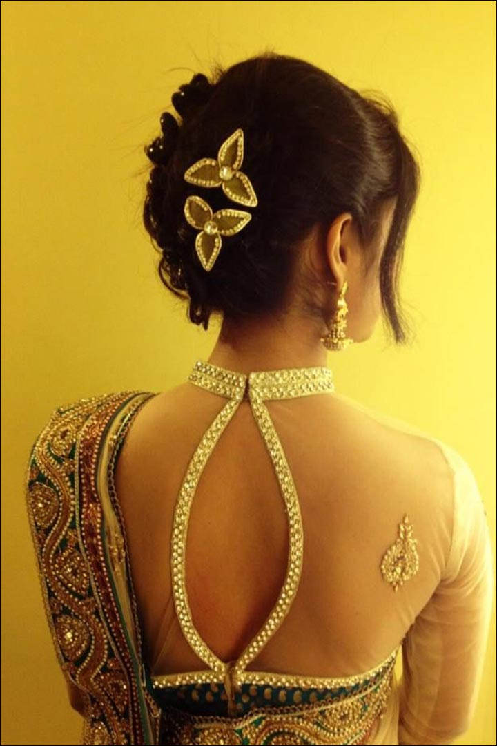 Bridal Saree Blouse Designs - Open-Backed-Choker-Colla