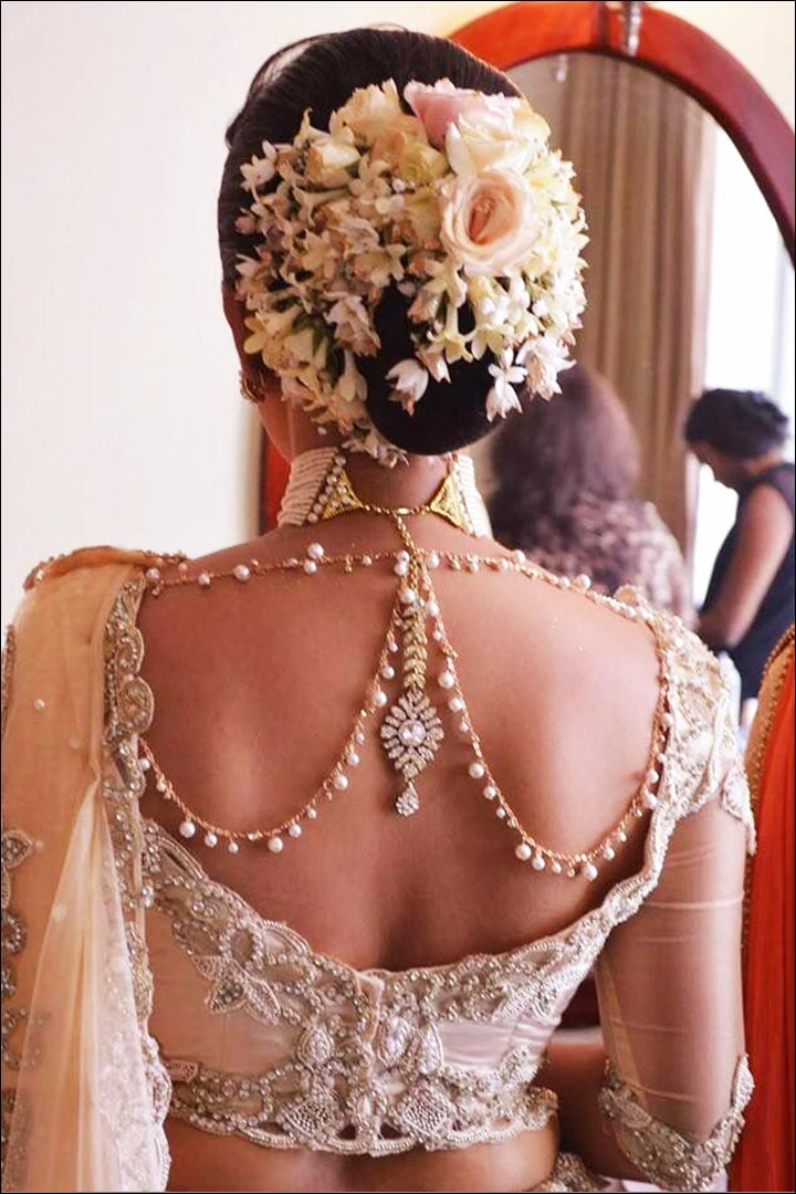Bridal Saree Blouse Designs - Open-Lace-Blouse-With-Pearl-Stone