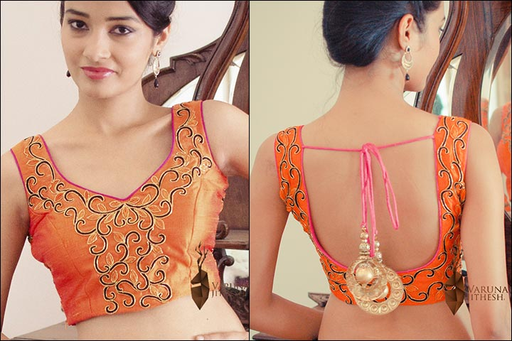 Blouse Back Neck Designs - Embroidered Orange Blouse Back Neck Design