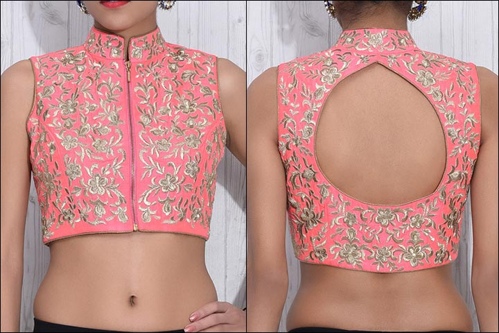 Blouse Back Neck Designs - Pink And Gold Raw Silk Blouse Back Neck Design