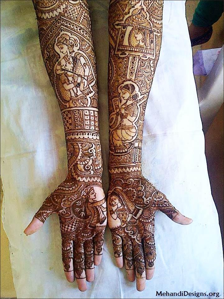 Radha and Krishna Mehndi design depicting their love