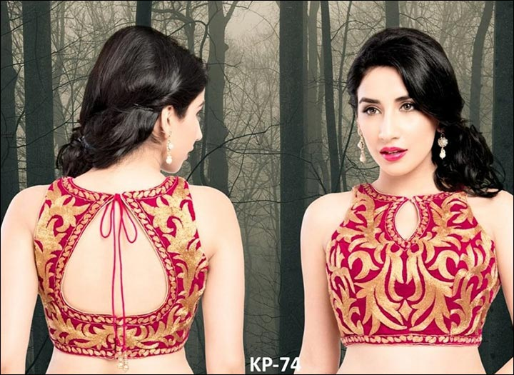 Blouse Back Neck Designs - Crimson And Gold Blouse Back Neck Design