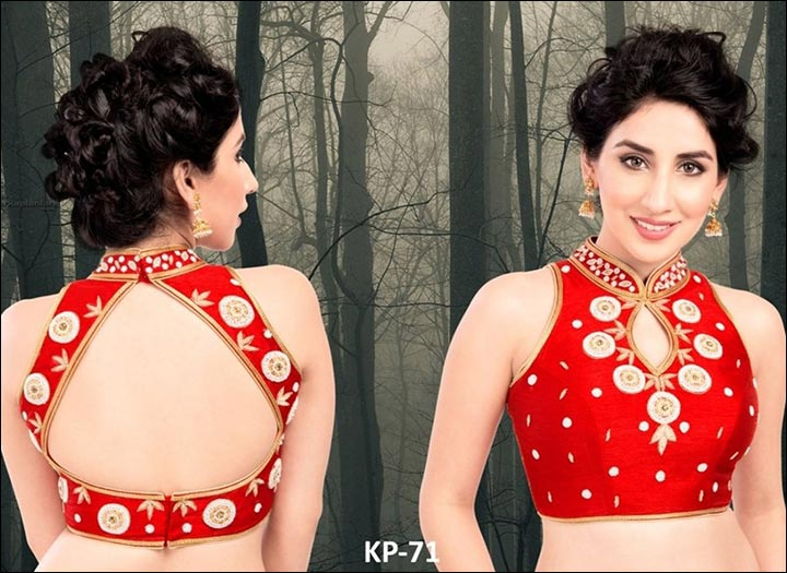 Blouse Back Neck Designs - Bold Red Silk Blouse Back Neck Design