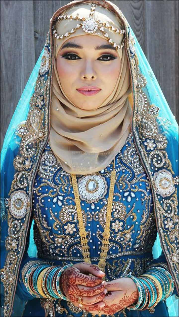 Royal Blue Muslim Bridal Dress