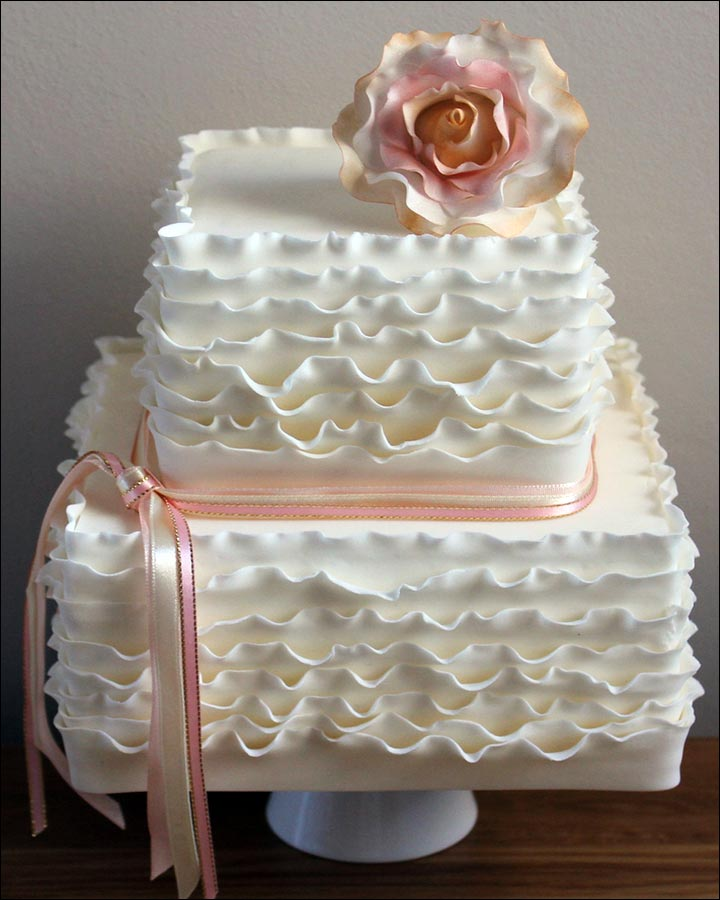 Square Wedding Cakes - The Ruffles Cake